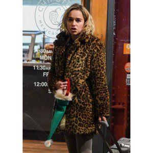 Last Christmas Emilia Clarke Leopard Fur Coat